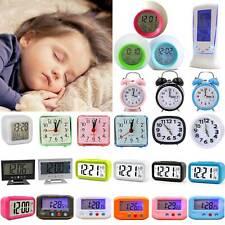 Smart Digital Alarm Clock Quartz Night Analog Bedside Calendar Snooze Decor Gift