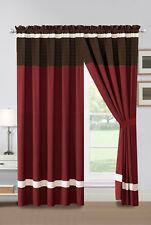 4-Pc Archer Pleated Stripe Curtain Set Burgundy Brown Ivory Valance Drape Sheer