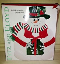 Fitz And Floyd Plaid Snowman Ceramic Canape Appetizer Snack Plate Tray New Box