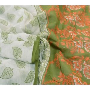 Sanskriti Vintage Cream 100% Pure Cotton Sarees Printed Craft 5 Yard Fabric Sari