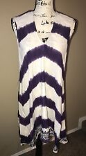 Roxy Women's Junior Purple White Embroidered Swim Cover Up Dress Sz XS NWT