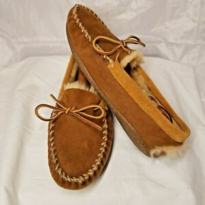 LLBean Mens Shoes Wicked Good Moccasin Slippers Brown Faux Fur Lined Slip On 8M
