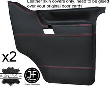 RED STITCH 2X FRONT DOOR CARD LEATHER COVERS FITS VW T4 TRANSPORTER CARAVELLE