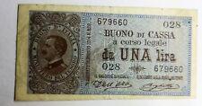 V.E.III Buono di cassa da 1 lira 1914
