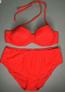 Jolidon Damen Bikini SET F2173 Gepolstert BH mit Bügel Rot Neu