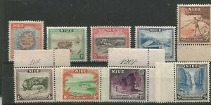 NIUE 1950 FINE 7 FRESH MIXED LIGHTLY AND UNMOUNTED MINT SET WITH MARGINS
