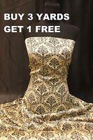 Satin Print Cream Black Damask Flower Floral dress-making Crafts fabric material