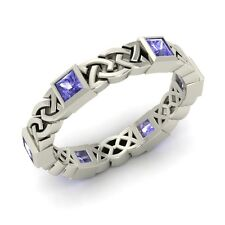 Certified Princess Cut Tanzanite Celtic Knot Wedding Band Ring in 14k White Gold