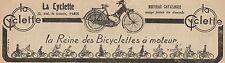Y8289 La Cyclette - La reine des Bicyclettes à Moteur - Pubblicità - 1923 Old ad