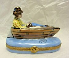 Vtg Peint Main France Limoges Man Fishing in Boat Ship Wheel Fish Trinket Box