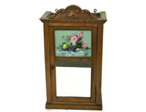 Bathroom Apothecary Medicine Cabinet Barn  Hand Carved Wood Flowers Beautiful