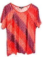 Elementz Shimmer Ruffle Blouse plus size 2X coral red short sleeve vegas cruise