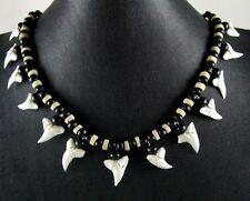 Genuine 13 Mako Shark Tooth Pendant Beads Cords Surfer Necklace Men Women GA056