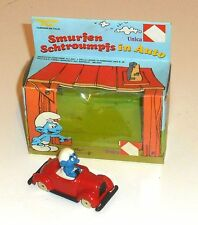 Vintage 1983 Peyo Smurfs - SMURFEN SCHTROUMPFS IN AUTO - Boxed MIB (A3)