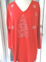 Plus One Size Full-Length Leggings Embellished Silver Xmas Tree With Red Bows