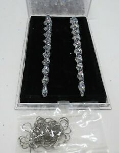 Santa's Workbench Set of 40 Crystal Clear Glittery Icicles with ornamental hooks