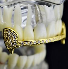 Fang Grillz 18k Gold Plated Top Half Teeth CZ Cubic Zirconia Slim Vampire Fangs