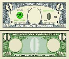 BILLET ZERO DOLLAR US !  Collection HUMOUR Etats Unis Monnaie Million gag nada