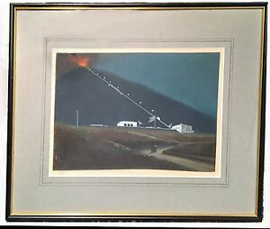 Rare Antique Gouache Painting Bay of Naples, Vesuvius, Grand Tour FUNICULAR 1880