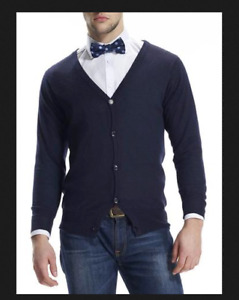 100% Cashmere Mens Navy Blue cardigan, jumper sweater Size small S Chess London