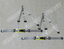 Pair 3 Point Silver Gray Racing Seat Belt Harness Kit For Car / Off Road / 4x4