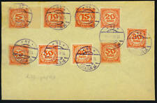 AUSTRIA 1920 IMPERF POSTAGE DUE 9 DIFF. ON BUFF PAPER