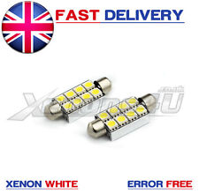 2x 42mm 8 SMD LED Festoon DOME INTERNO LAMPADA AUTO LAMPADINE