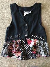 Vintage Girls 1980's Vest Floral Ruffle Polka-dot Black La Belle Small S 1990's