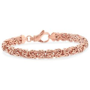 Rose Gold Chain Bracelet for Mens Womens Byzantine Link