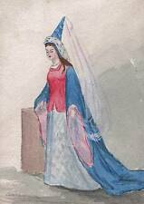 MEDIEVAL QUEEN FASHION COSTUME Watercolour Painting J M TODD c1870