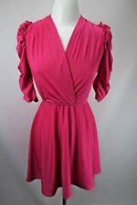 Vtg 80s Hot Pink Cross Front Nylon Puff Sleeve Dress Sz Xs/S Flouncy Union Made