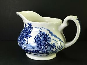 "Blue White Olde England Royal Tudor Ware Staffordshire Pottery Jug 4 1/2"""