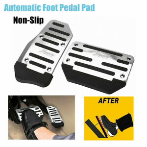 Silver Non-Slip Automatic Gas Brake Foot Pedal Pad Cover Car Accessories Kit Set