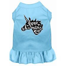 Born to be a Unicorn Screen Print Dog Dress Baby Blue