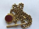 Antique Gold Pocket Watch Chain & Cornelion Fob No Reserve