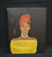Vintage Portrait of A Young Black Lady Looking!  Oil Painting Signed Rosemary