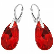Red Teardrop Earrings Necklace Set Made with Swarovski Crystals