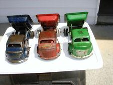 "Vintage Lot of 3 Original Early 1940s Richmond Pressed Steel Dump Trucks -12"" L"