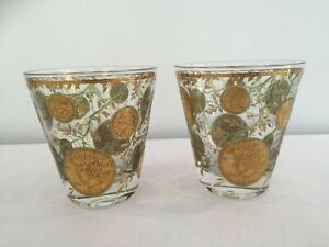 Culver Glass Midas Flared Double Old Fashioned Rocks U.S. Gold Coins & Leaves