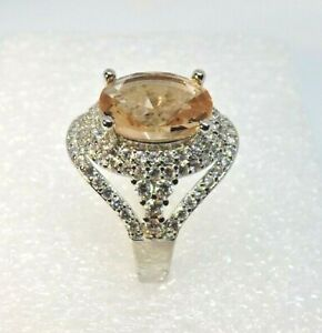 Vintage Inspired Champagne Tourmaline & CZ Ladies Cocktail Ring