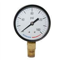 """Pressure Gauge 160 PSI 2 -1/2"""" Diameter 1/4"""" NPT Bottom Mount - G2022-160"""