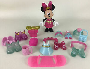 Minnie Mouse Deluxe Winter Bowtique Snap N Style 19pc Lot Toy Fisher Price