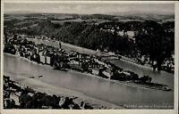 Passau vom Flugzeug aus Niederbayern AK ~1930/40 Fliegeraufnahme Luftbild