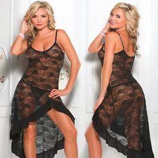 Sexy Lace Women Night Gown Sheer Sleep Dress Evening sleepwear Lingerie Nightie