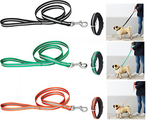 """New Reflective Leash 48 ½ """" / 123 cm and Padded Collar for Dogs up to 71 lb 32kg"""
