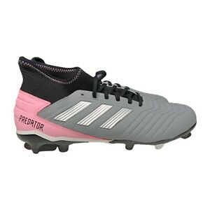 Adidas Predator 19.3 FG Soccer Cleats Women Sz 12 Sock-like Fit F97528 Grey/Pink