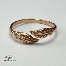 18ct Rose Gold on Solid 925 Sterling Silver Toe / Midi Ring, Leaf, New, Gift Bag