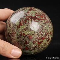 746g 78mm Large Natural Dragon Blood Stone Quartz Crystal Sphere Healing Ball