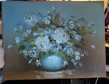 Vintage Original Flower Arrangement Blue White Signed Berry Canvas Painting