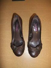 Ladies Shoes Jones brown leather & buckle, UK 6 EU 39, courts, wedge, used 3107